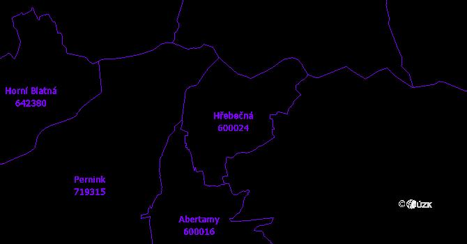 Katastrální mapa Hřebečná - přehledová mapa katastrálního území