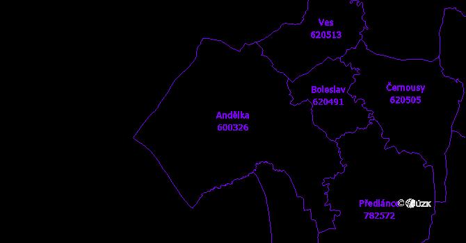Katastrální mapa Andělka - přehledová mapa katastrálního území