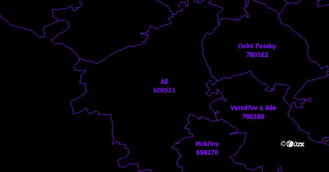 Katastrální mapa Aš - přehledová mapa katastrálního území