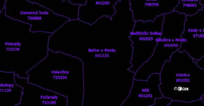 Katastrální mapa Bečov u Mostu - přehledová mapa katastrálního území