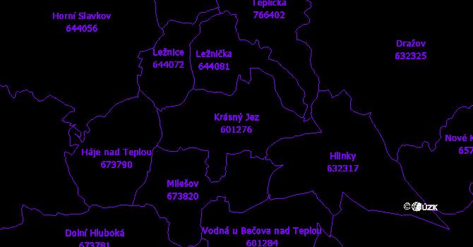Katastrální mapa Krásný Jez - přehledová mapa katastrálního území