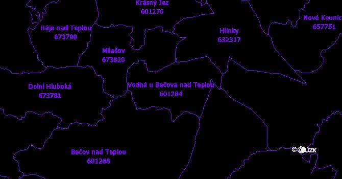 Katastrální mapa Vodná u Bečova nad Teplou - přehledová mapa katastrálního území
