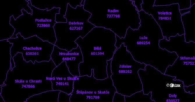 Katastrální mapa Bělá - přehledová mapa katastrálního území