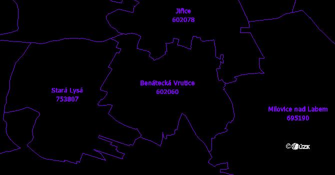 Katastrální mapa Benátecká Vrutice - přehledová mapa katastrálního území