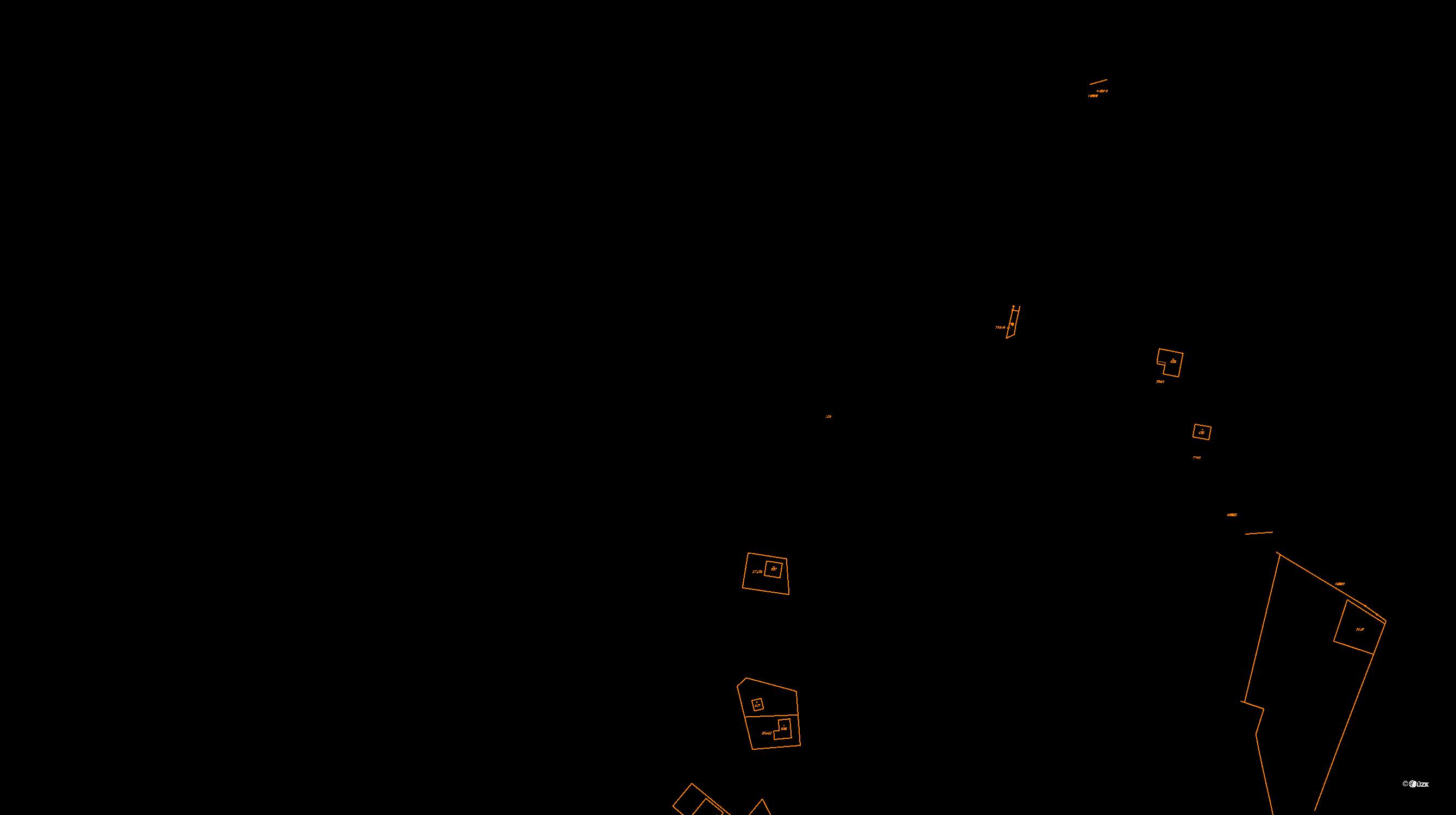 Katastrální mapa pozemků a čísla parcel Bernartice u Milevska