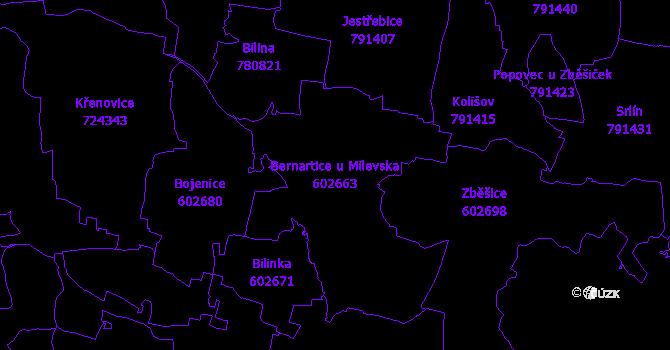 Katastrální mapa Bernartice u Milevska - přehledová mapa katastrálního území