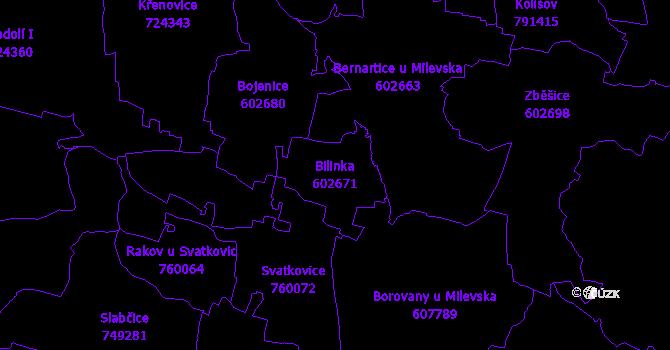 Katastrální mapa Bilinka - přehledová mapa katastrálního území