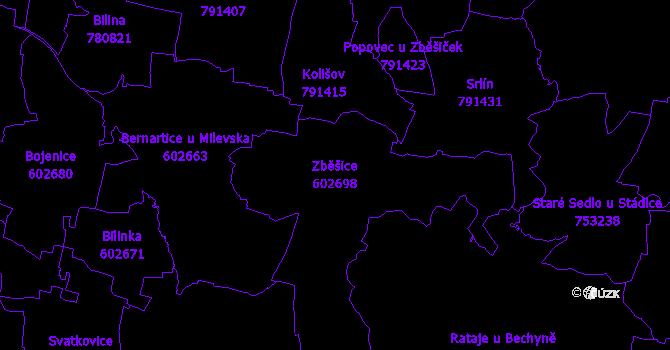 Katastrální mapa Zběšice - přehledová mapa katastrálního území
