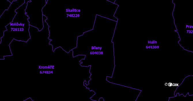 Katastrální mapa Bílany - přehledová mapa katastrálního území