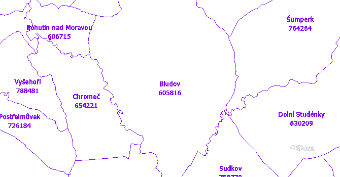 Katastrální mapa Bludov - přehledová mapa katastrálního území