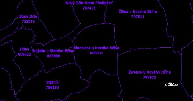 Katastrální mapa Bludovice u Nového Jičína - přehledová mapa katastrálního území