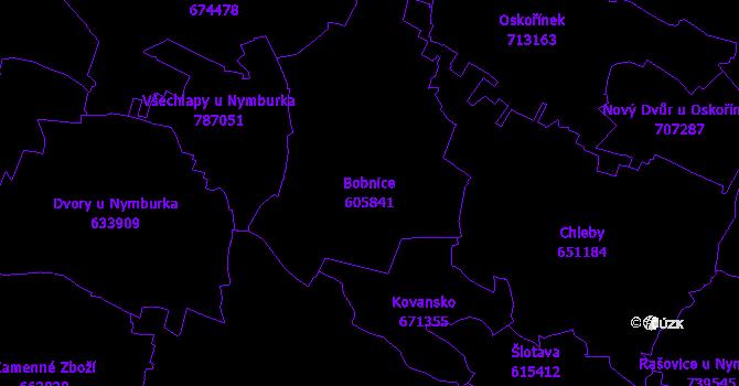 Katastrální mapa Bobnice - přehledová mapa katastrálního území