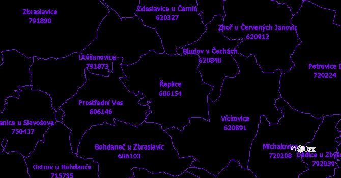 Katastrální mapa Řeplice - přehledová mapa katastrálního území
