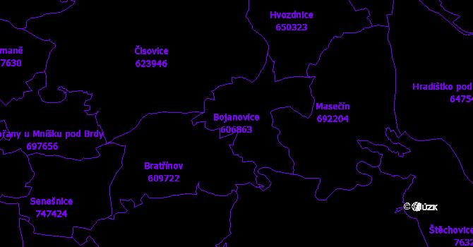 Katastrální mapa Bojanovice - přehledová mapa katastrálního území