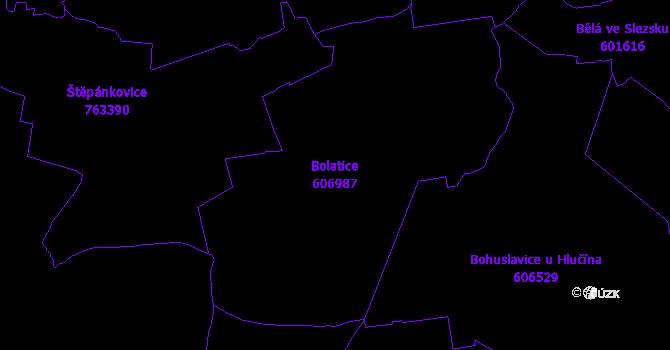 Katastrální mapa Bolatice - přehledová mapa katastrálního území