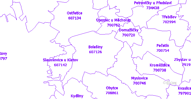 Katastrální mapa Bolešiny - přehledová mapa katastrálního území