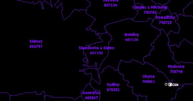 Katastrální mapa Slavošovice u Klatov - přehledová mapa katastrálního území