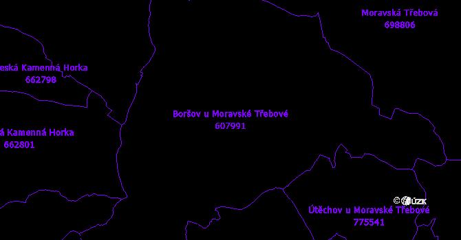 Katastrální mapa Boršov u Moravské Třebové - přehledová mapa katastrálního území