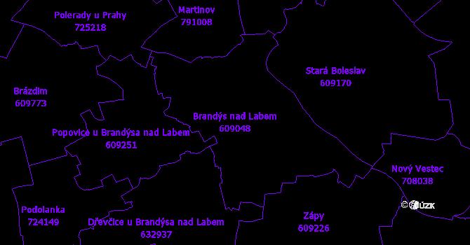 Katastrální mapa Brandýs nad Labem - přehledová mapa katastrálního území