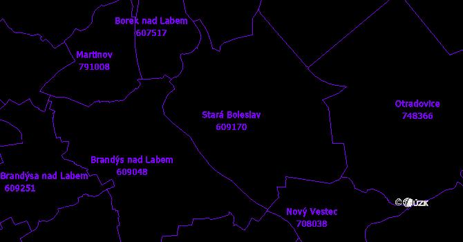 Katastrální mapa Stará Boleslav - přehledová mapa katastrálního území