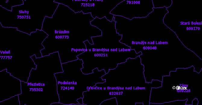 Katastrální mapa Popovice u Brandýsa nad Labem - přehledová mapa katastrálního území