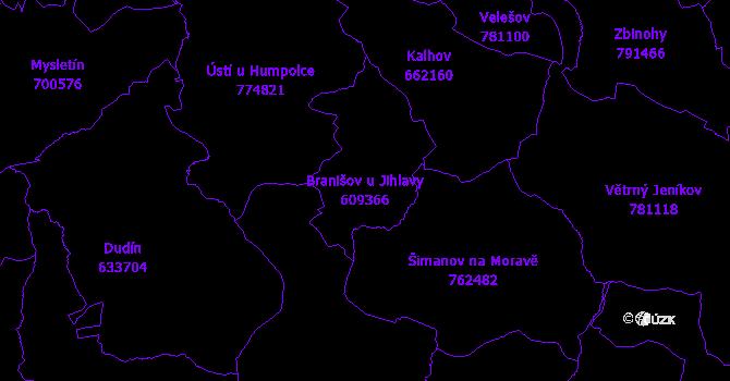 Katastrální mapa Branišov u Jihlavy - přehledová mapa katastrálního území