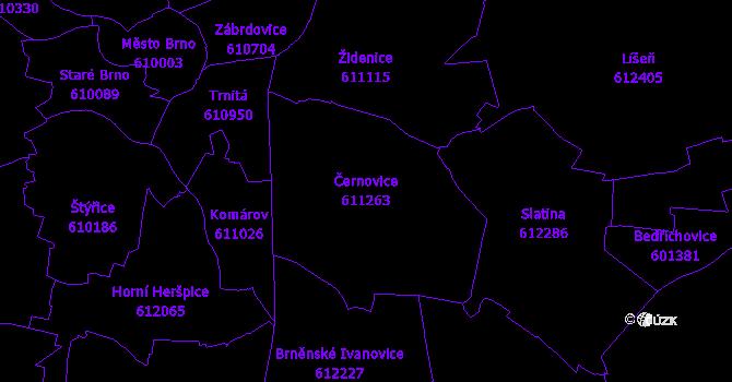 Katastrální mapa Černovice - přehledová mapa katastrálního území