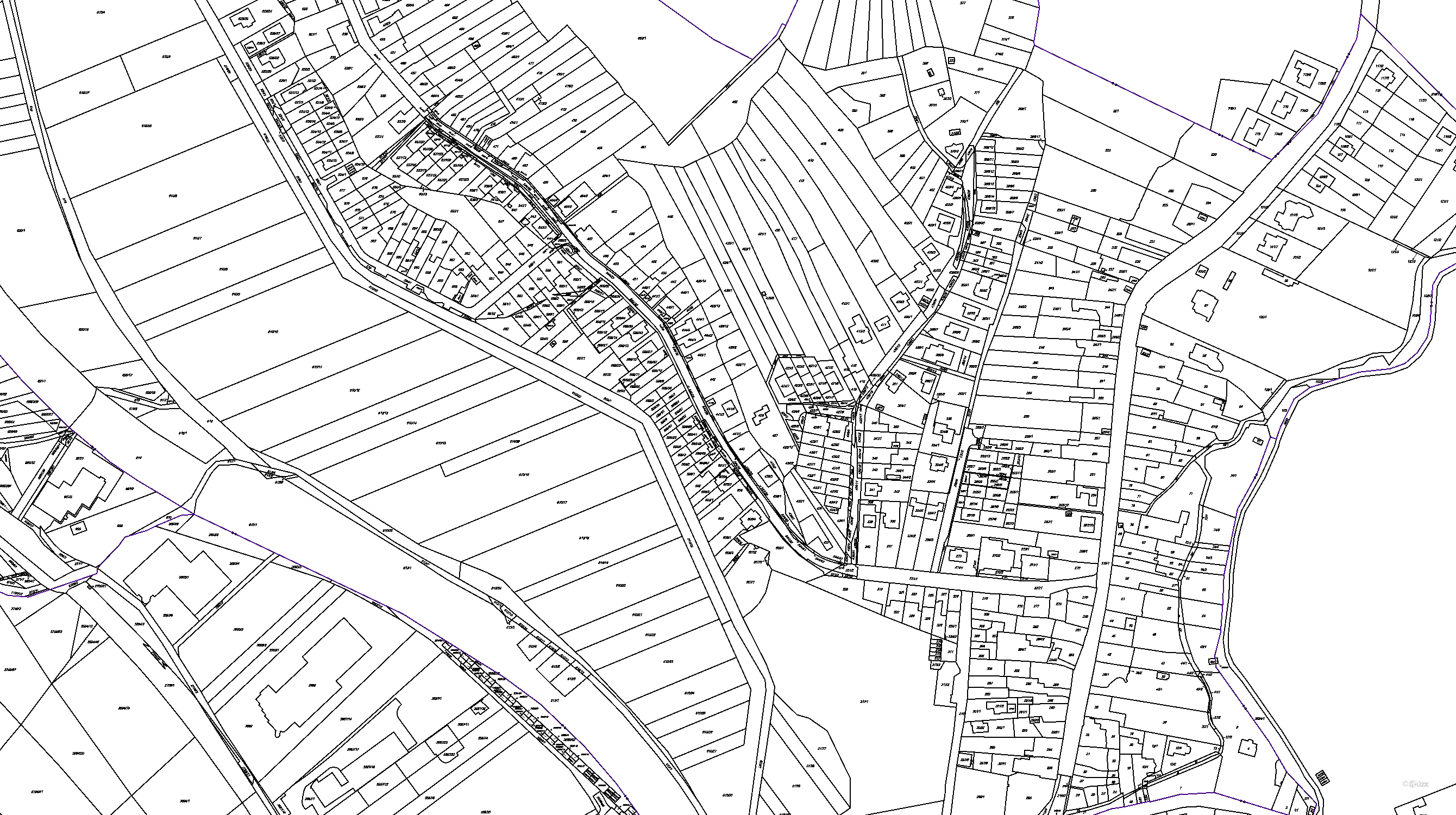 Katastrální mapa pozemků a čísla parcel Mokrá Hora