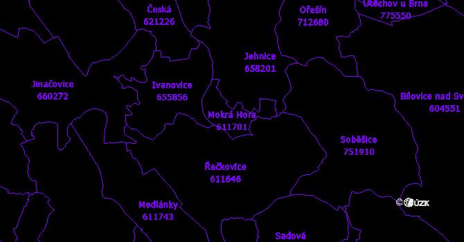 Katastrální mapa Mokrá Hora - přehledová mapa katastrálního území