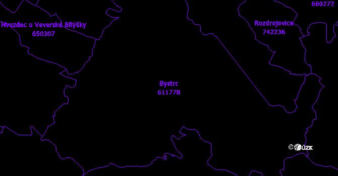 Katastrální mapa Bystrc - přehledová mapa katastrálního území