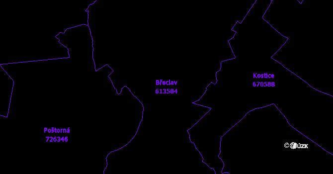 Katastrální mapa Břeclav - přehledová mapa katastrálního území