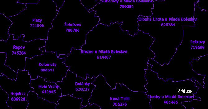 Katastrální mapa Březno u Mladé Boleslavi - přehledová mapa katastrálního území