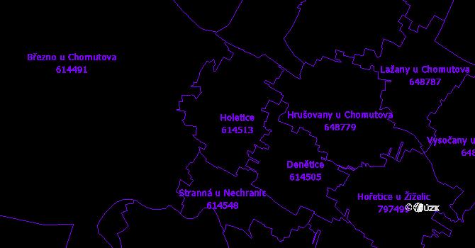Katastrální mapa Holetice - přehledová mapa katastrálního území