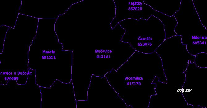 Katastrální mapa Bučovice - přehledová mapa katastrálního území