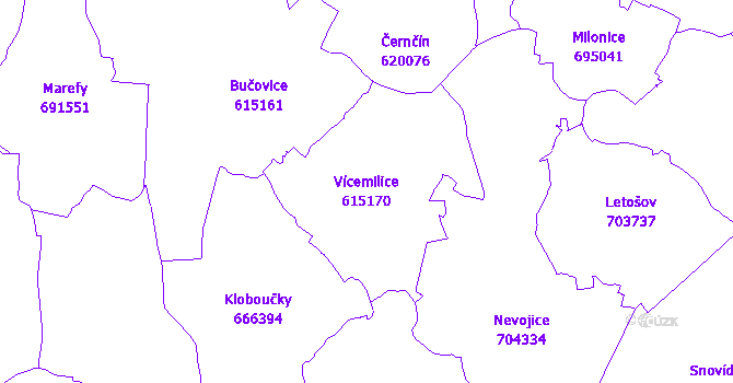 Katastrální mapa Vícemilice - přehledová mapa katastrálního území