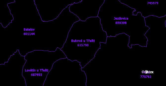 Katastrální mapa Buková u Třešti - přehledová mapa katastrálního území