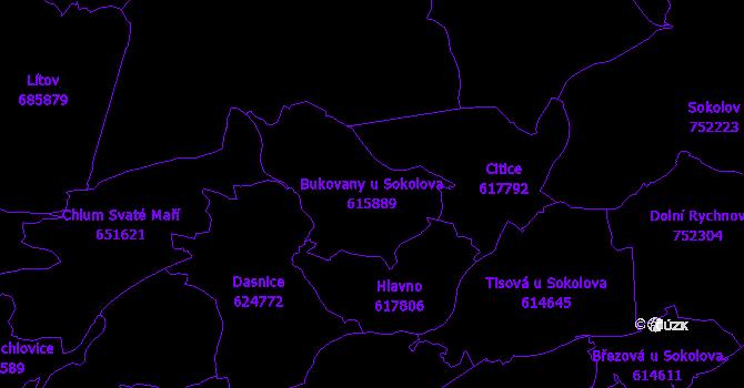 Katastrální mapa Bukovany u Sokolova - přehledová mapa katastrálního území