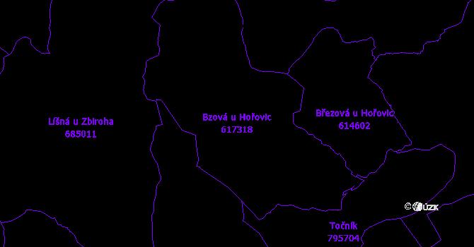 Katastrální mapa Bzová u Hořovic - přehledová mapa katastrálního území