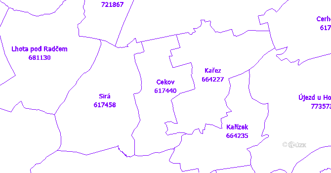 Katastrální mapa Cekov - přehledová mapa katastrálního území
