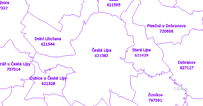Katastrální mapa Česká Lípa - přehledová mapa katastrálního území