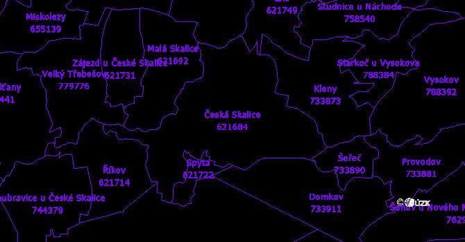 Katastrální mapa Česká Skalice - přehledová mapa katastrálního území