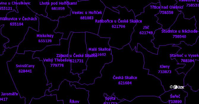 Katastrální mapa Malá Skalice - přehledová mapa katastrálního území