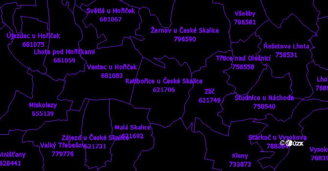 Katastrální mapa Ratibořice u České Skalice - přehledová mapa katastrálního území