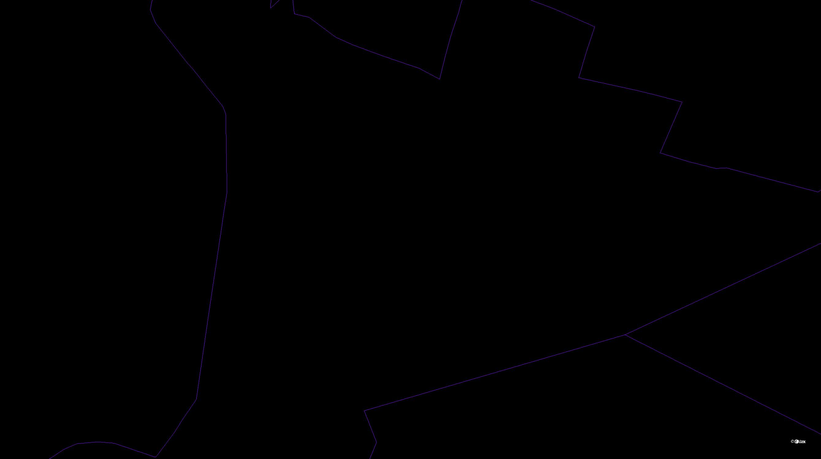 Katastrální mapa pozemků a čísla parcel Spyta