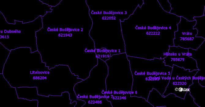 Katastrální mapa České Budějovice 1 - přehledová mapa katastrálního území