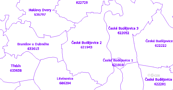 Katastrální mapa České Budějovice 2 - přehledová mapa katastrálního území