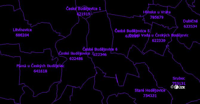 Katastrální mapa České Budějovice 6 - přehledová mapa katastrálního území
