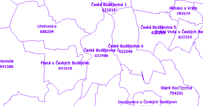 Katastrální mapa České Budějovice 7 - přehledová mapa katastrálního území