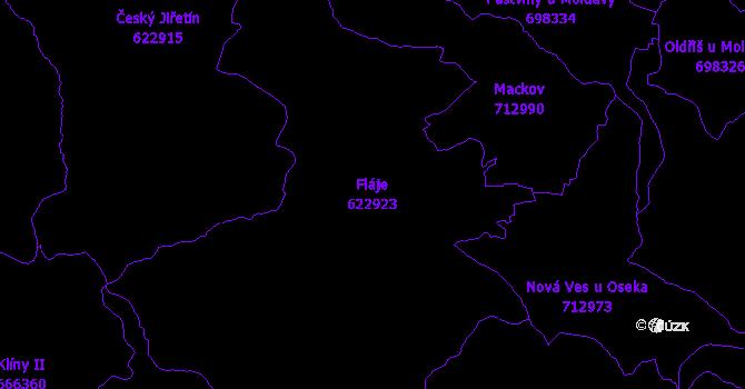Katastrální mapa Fláje - přehledová mapa katastrálního území