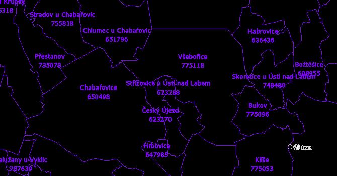 Katastrální mapa Střížovice u Ústí nad Labem - přehledová mapa katastrálního území